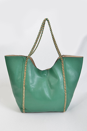 Double Side Golden Chain Strapped Handbag