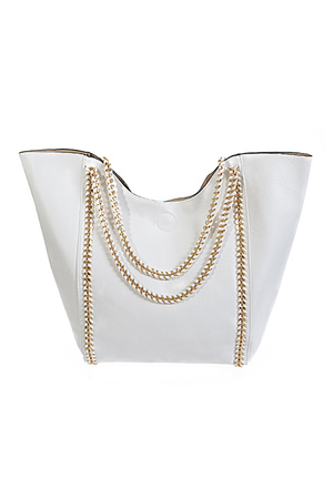 Top Tote Hand Bag With Chain Detail