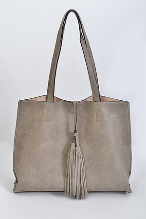Reversal Tote Bag with Front Tassel Charm Detail
