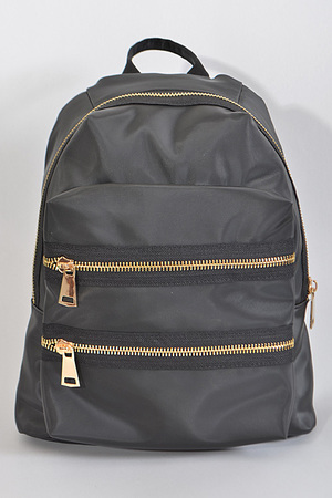 Double Zipper Inspired Plain Bagpack