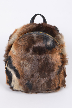 Faux Fur Animal Inspired Backpack.