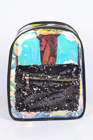 Mirrored Backpack With Flashy Pocket
