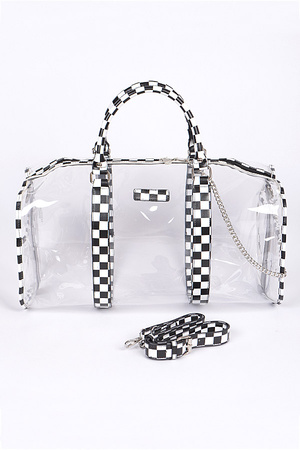 Clear Bag With Chess Print Details