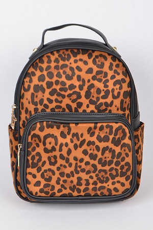 Leopard Print Backpack With Zippers