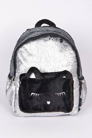 Cute Kitty Sequins Backpack
