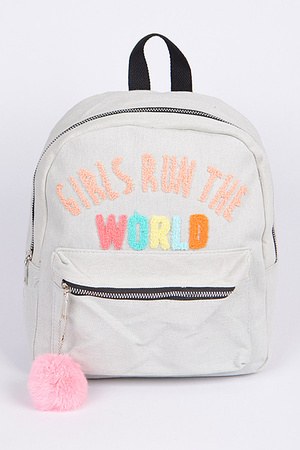 Girls Run The World Backpack With PuffBall