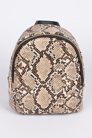 Faux Reptile Skin Backpack.