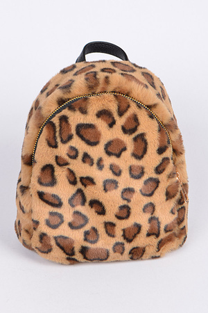 Faux Fur Leopard Daily Backpack