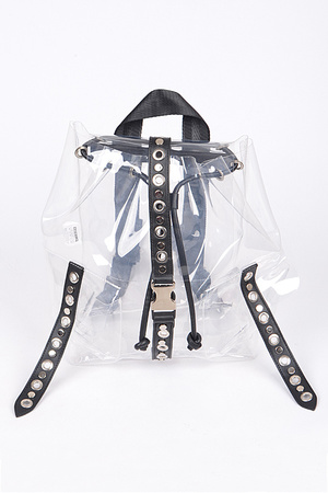 Clear Backpack With Multi Ring Details