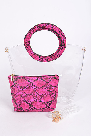Faux Snake Skin Translucent Clear Tote and Wallet Set