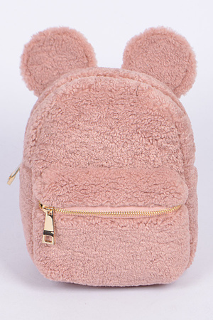 Faux Fur Mouse Ears Backpack