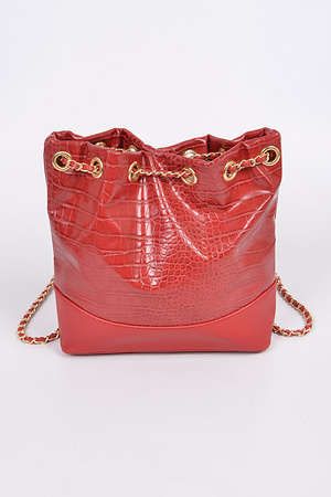 Snakeskin Looped Strap Tote