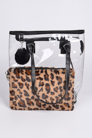 Clear Bag With Leopard Pouch