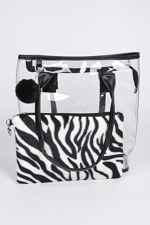 Clear Bag With Zebra Pouch
