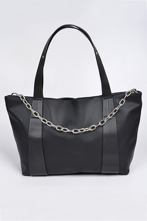 Monotone Leather Shoulder Bag with Chain