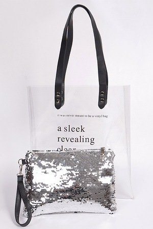 Clear PVC Bag with Sequin Pouch
