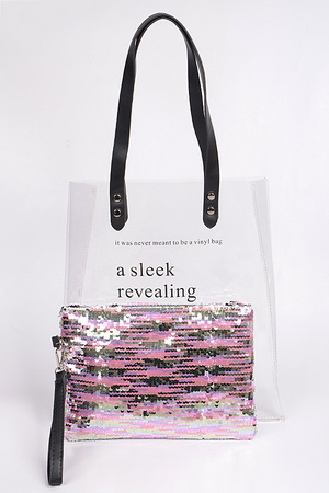 Clear PVC Tote Bag with Glitter Pouch