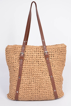 Leather Strap Straw Like Basket  Bag