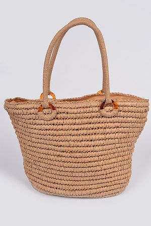 Straw Like Basket Tote Bag