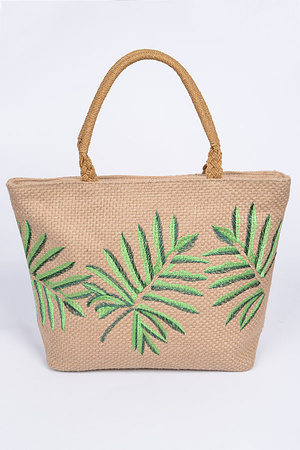 Straw Palm Tree Print Tote Bag