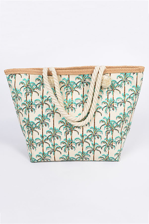 Oversized Palm Tree Printed With Straw Bag