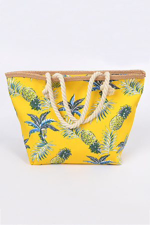 Oversized Vacation pineapple Print Tote Bag
