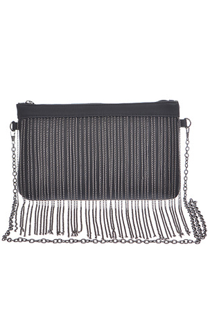 Fringed Metal Chain Clutch Bag