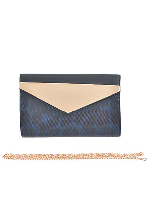 Gold Triangle Flap Leopard Clutch