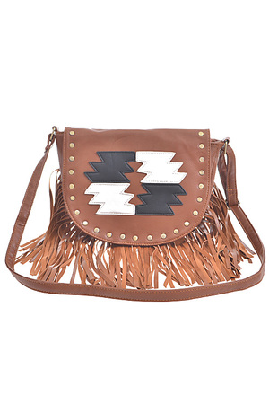 Aztec Style Fringed Clutch