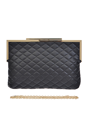 Soft Quilted Golden Edge Top Clutch