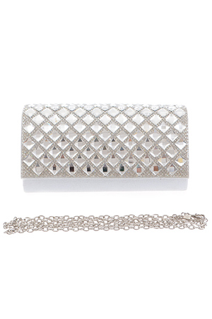 Square Reflective Rhinestone Attached Clutch