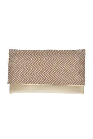 Chevron Two Tone Rhinestone Studded Clutch