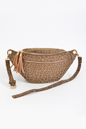 Leopard Fanny Pack With Tassels