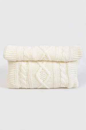 Knitted Patterned Rectangle Overlapping Clutch