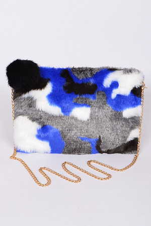 Mixed Color Faux Fur Clutch For You