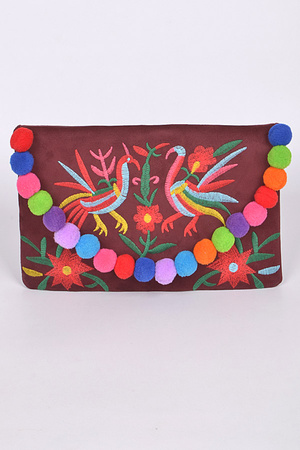Asian Style Clutch with Puff Balls Details