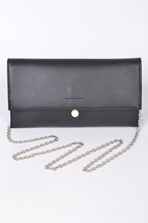 Plain Rectangular Clutch With Pearl Detail