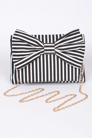 Ribbon Ladylike Clutch With Chain Details