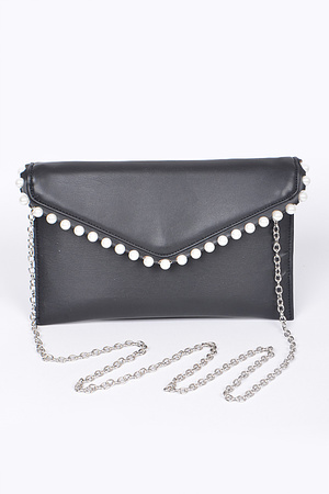 Envelope Clutch With Pearl Details