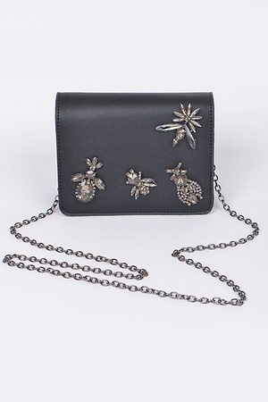 Nature & Rhinestones Clutch
