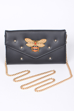 Envelope Clutch With Bee Detail
