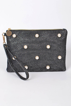 Sparkling Clutch With Pearl Details