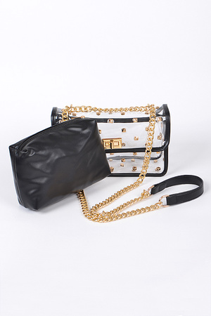 Studded Clear Clutch With Make Up Pouch.