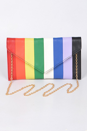 Rainbow Clutch With Chain.