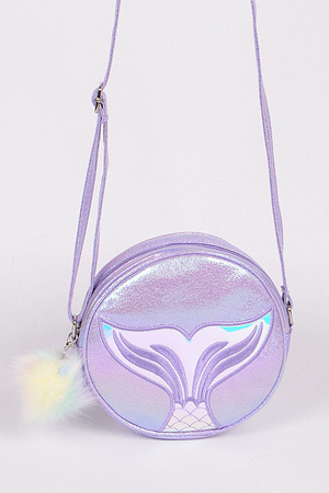 Circle Mermaid Sparkling Clutch With Puff Ball