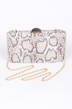 Faux Reptile Skin Clutch With Chain Details