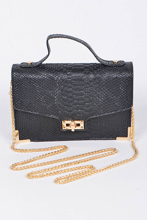 Faux Alligator Skin Clutch With Chain Details