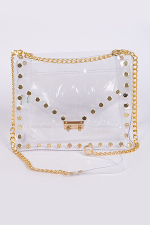Studded Translucent Chain Clutch