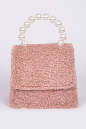 Faux Fur Clutch with Pearl Handle