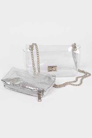 Clear PVC Clutch With Shiny Pouch.